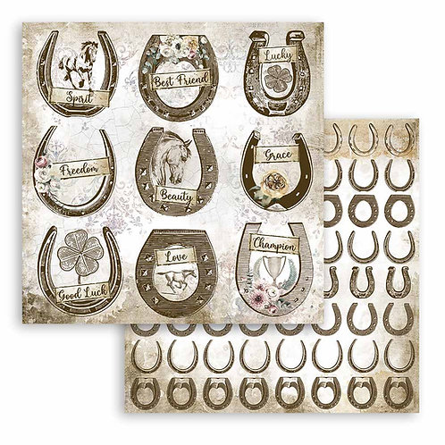 Stamperia - Horses  - Horseshoes - 2 - 12x12 Single Sheets
