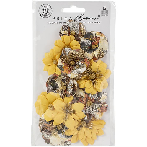 Prima - Diamond - Colorful Beauty - Mulberry Paper Flowers - 12 Pieces