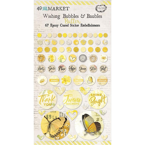 49 And Market Epoxy Coated Wishing Bubbles & Baubles 67/Pkg - Butter
