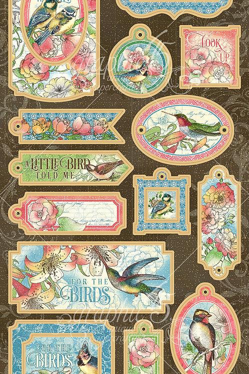 Graphic 45-Bird Watcher-Decorative Chipboard