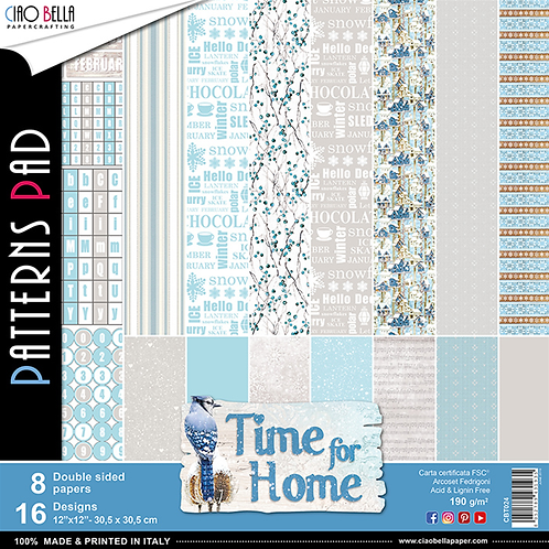 Time For Home by Ciao Bella-8-12x12 Double-Sided Papers-CBT024