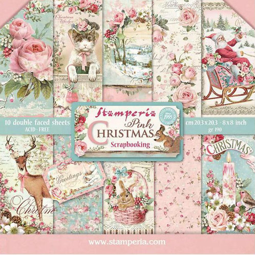 Pink Christmas 8x8 Paper Pack by Stamperia - 10 Double Sided Design Papers