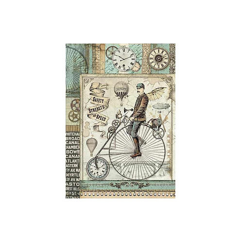 Voyages Fantastiques Retro Bicycle Rice Paper by Stamperia-Item #DFSA4371