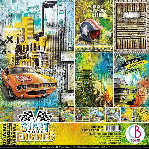 Start Your Engines by Ciao Bella-12-12x12 Double-Sided Papers-CBPM031