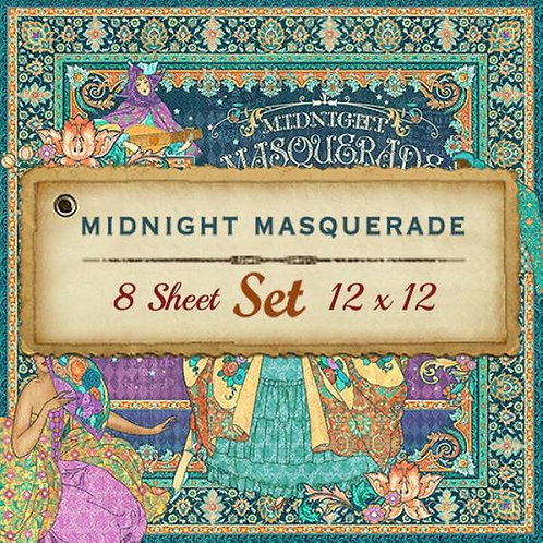Graphic 45-Midnight Masquerade- 8 - 12x12 Double-Sided Sheet Set