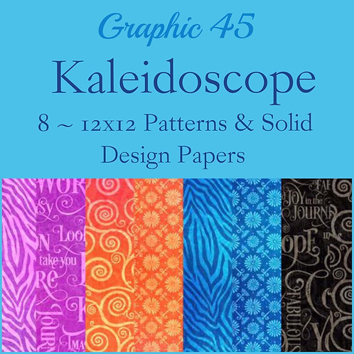 Graphic 45-Kaleidoscope-Patterns & Solids-12x12 Paper  8 Sheets (no cover)