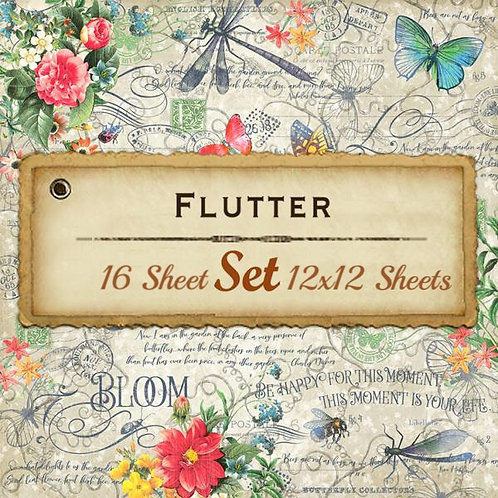 G 45-Flutter-12x12 Papers-16 Single Double-Sided Sheets (No Cover)