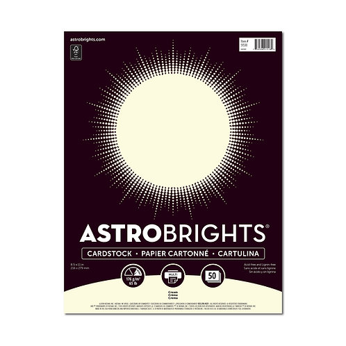 """Neenah - Astrobrights - Cream Colored Cardstock, 8.5"""" x 11"""" - 65 lb - 50 Sheets"""