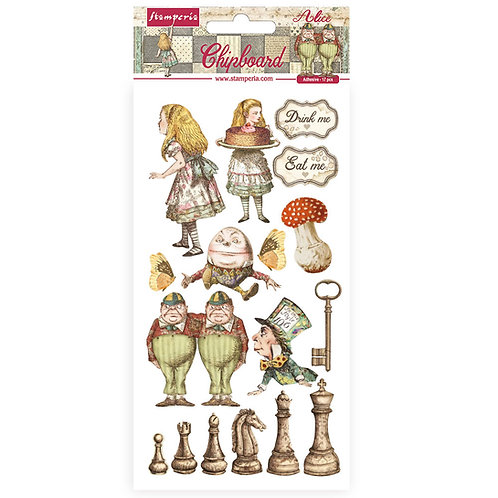 Stamperia - Alice Through The Looking Glass - Adhesive Chipboard