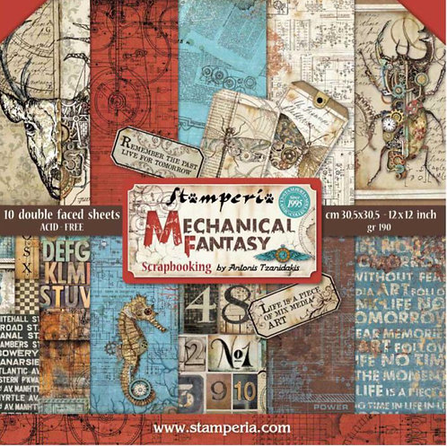 Mechanical Fantasy by Stamperia-12x12 Paper Pad