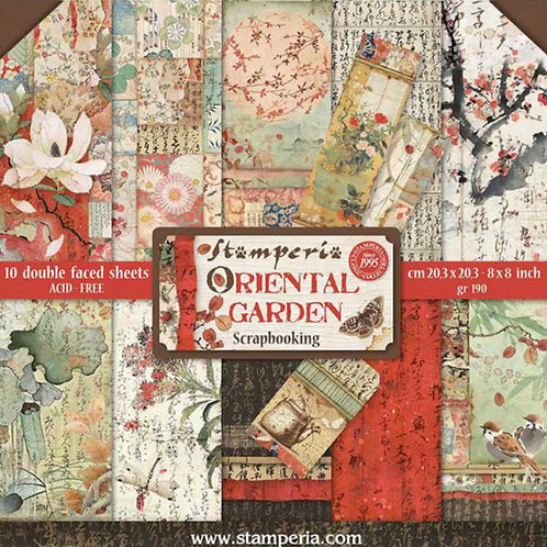 Oriental Garden 8x8 Paper Pack by Stamperia - 10 Double Sided Design Papers