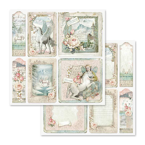 Stamperia-Unicorn Cards - 2 - 12x12 Single Sheets-Item #SBB559