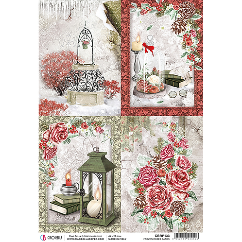 Frozen Roses-Cards - A4 Rice Paper by Ciao Bella-Item #CBRP133