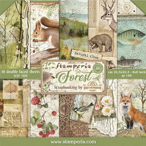 Forest 8x8 Paper Pack by Stamperia - 10 Double Sided Design Papers-Item #SBBS06