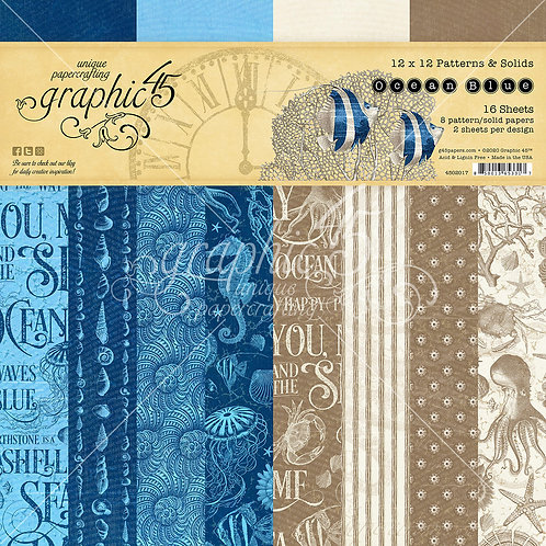 Graphic 45-Ocean Blue-Patterns & Solids-12x12 Paper  8 Sheets (no cover)