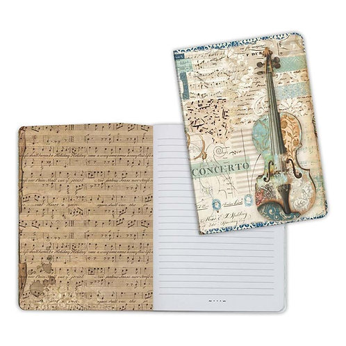 Music-Violin Notebook by Stamperia-6x8.25-Item #ENBA5011