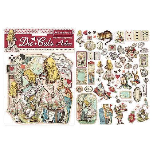 Stamperia-Alice-Die Cuts - 62 Chipboard Pieces