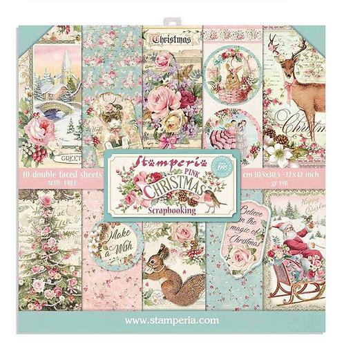 Stamperia-Pink Christmas 8x8 Paper Pack-10 Sheets - 22 Designs=Item #SBBS16