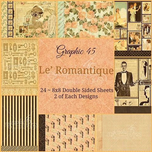 Graphic 45 - Le' Romantique - 8x8 Paper Pad (No Cover)