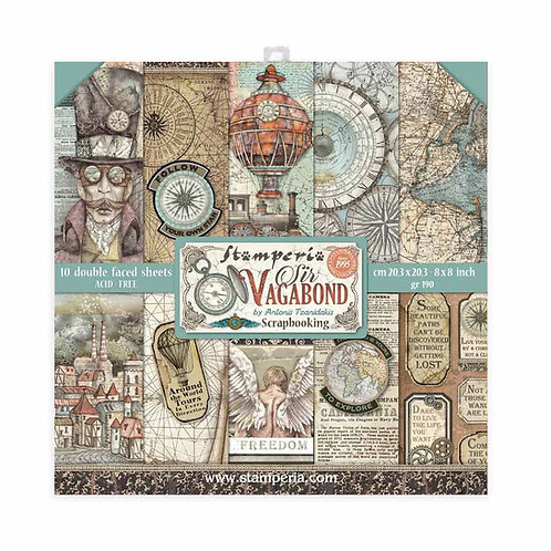 Stamperia - Sir Vagabond - 8x8 Paper Pad - 10 Sheets - 22 Designs