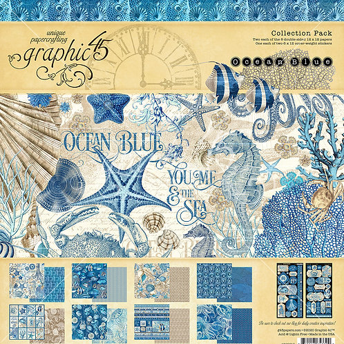 Graphic 45-Ocean Blue-12x12 Collection Pack w/Stickers