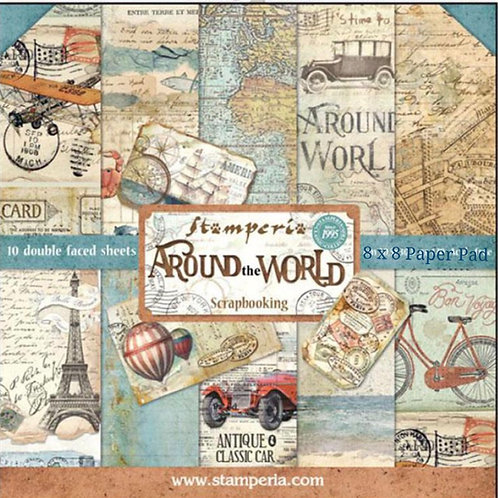 Around The World 8x8 Paper Pack by Stamperia - 10 Double Sided Design Papers