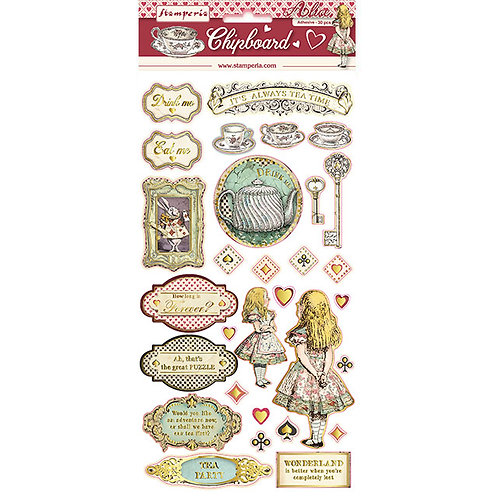 Stamperia - Alice Gold - Adhesive Chipboard