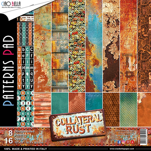 Collateral Rust by Ciao Bella-Double-8-12x12 Double-Sided Papers-16 Dsgns-CBT026