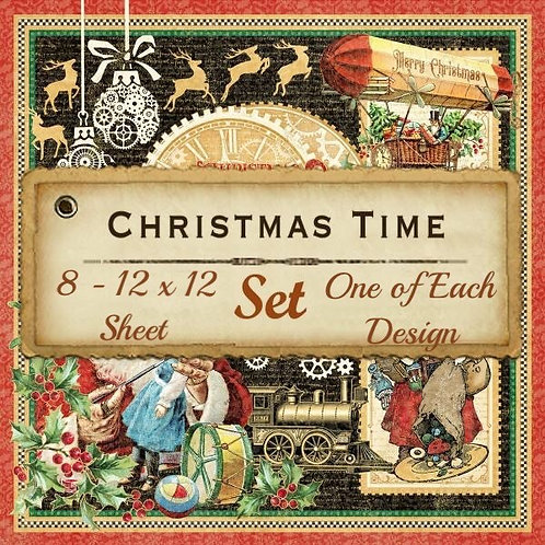 Graphic 45-Christmas Time-8 Single 12x12 Double-Sided Sheets (No Cover)