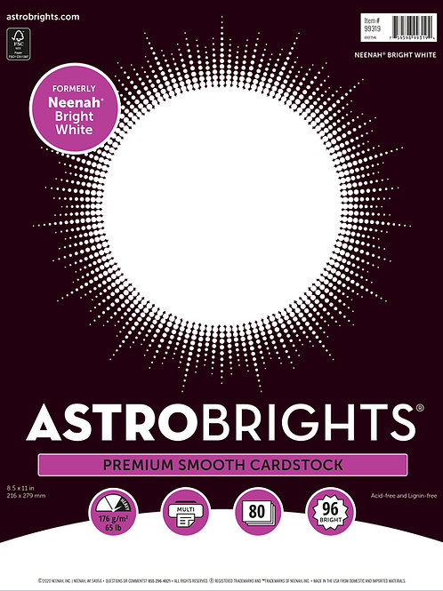 """Neenah - Astrobrights - Bright White Cardstock - 8.5"""" x 11"""" -  65 lb - 80 Sheets"""