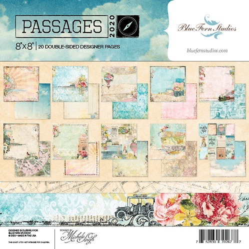 Blue Fern-Passages- 20 - 8x8 Double-Sided Papers-2 of Each Design + Bonus Sheet