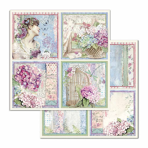 Stamperia-Hortensia 4-Square Cards-2 - 12x12 Single Sheets-Item #SBB697