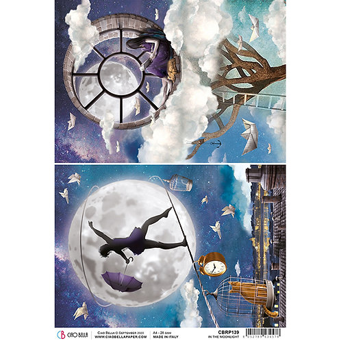Moon & Me-In The Moonlight - A4 Rice Paper by Ciao Bella-Item #CBRP139