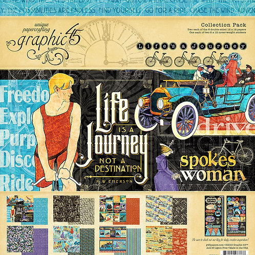 Graphic 45-Life's A Journey-12x12 Collection Pack w/Stickers