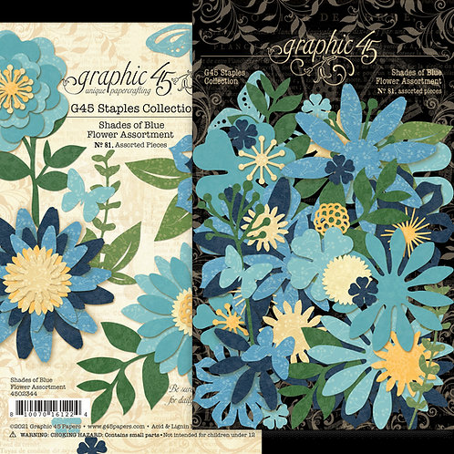 Graphic 45 - Shades of Blue - Flower Assortment