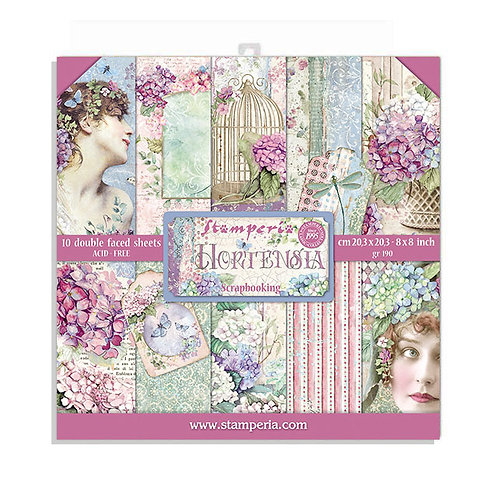 Stamperia - Hortensia 8x8 Paper Pack - 10 Sheets - 22 Designs