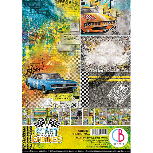 Start Your Engines by Ciao Bella-9 Double-Side Papers in the A4 Format