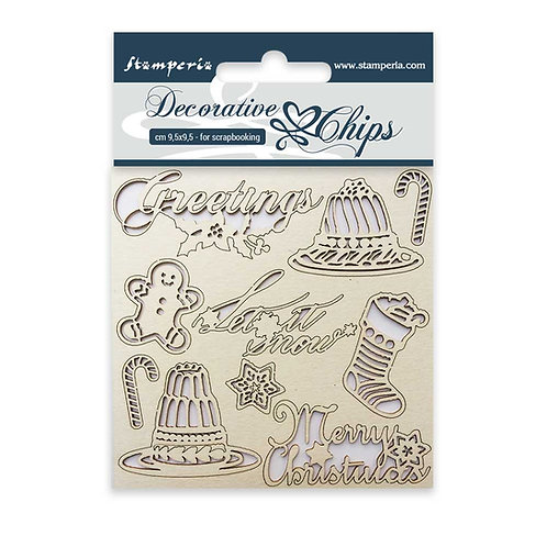 Stamperia-Decorative Chips-Classic Christmas-Item #SCB05