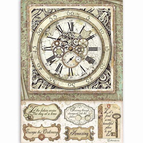 PRE ORDER Stamperia - Lady Vagabond - Clocks & Mechanisms - Rice Paper A4