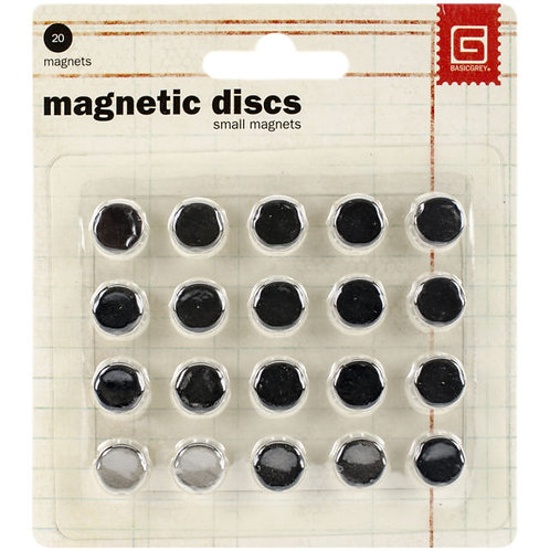 "Basic Grey-Magnetic Discs-20 Pkg - 3/8"" x 1/32"" thick"