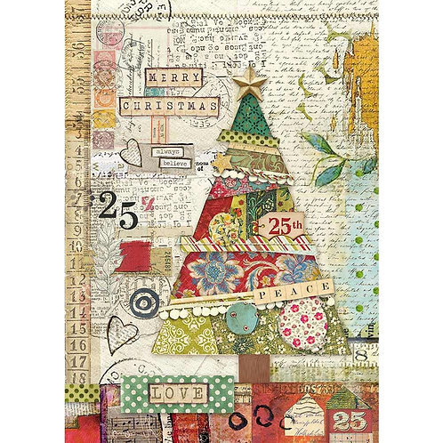 Patchwork Tree Rice Paper by Stamperia-Item #DFSA4406