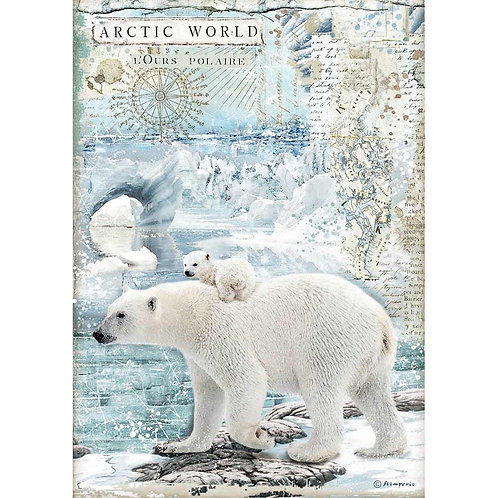 Stamperia - Arctic World Polar Bears - Rice Paper A4-Item #DFSA4478