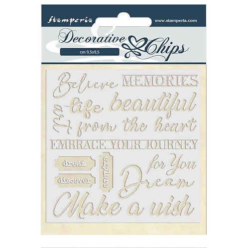 PRE ORDER - Stamperia - Decorative Chips - Atelier Des Arts - Quotes