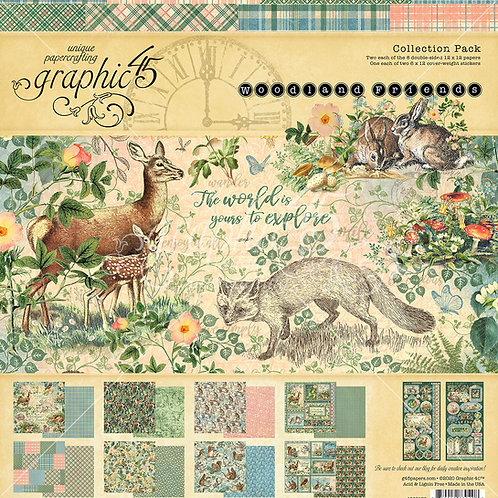 Graphic 45-Woodland Friends-12x12 Collection Pack w/Stickers