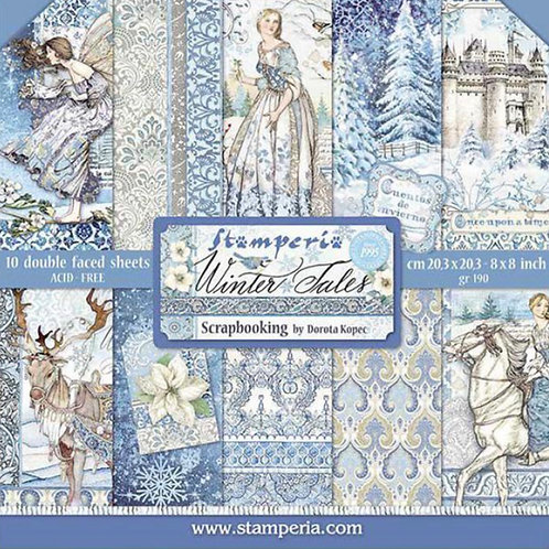 Stamperia-Winter Tales  8x8 Paper Pack-10 Sheets - 22 Designs