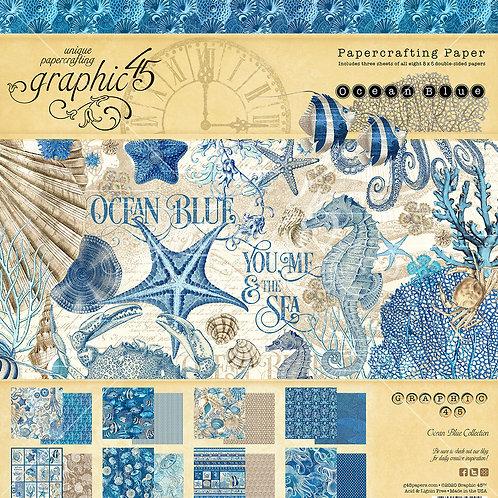 Graphic 45-Ocean Blue-8x8 Paper Pad