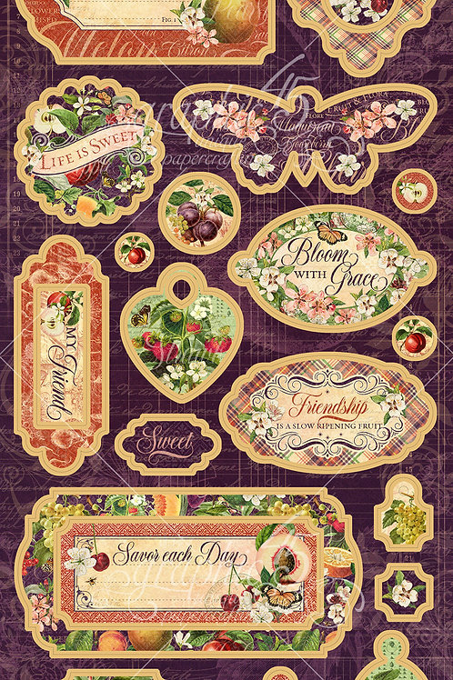 Graphic 45-Fruit & Flora-Decorative Chipboard