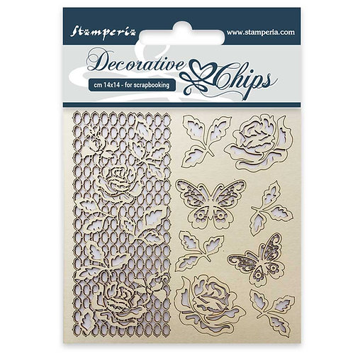 Stamperia-Decorative Chips-Rose and Butterfly