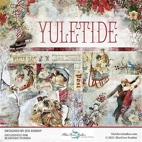 Blue Fern-Yuletide- 10 - 12x12 Double-Sided Design Papers (no cover)