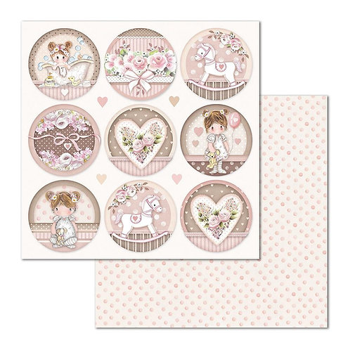 Stamperia-Little Girl Round - 2 - 12x12 Single Sheets-Item #SBB681